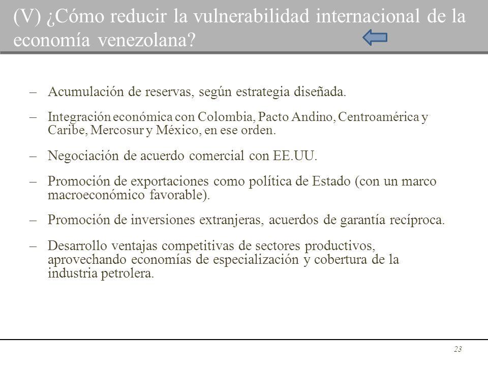 – Acumulación de reservas, según estrategia diseñada. – Integración económica con Colombia, Pacto Andino, Centroamérica y Caribe, Mercosur y México, e