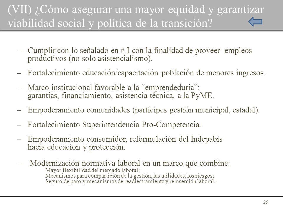– Cumplir con lo señalado en # I con la finalidad de proveer empleos productivos (no solo asistencialismo). – Fortalecimiento educación/capacitación p