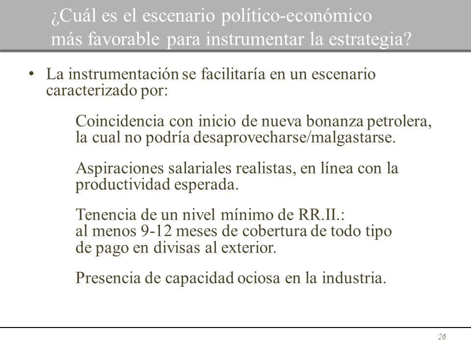 La instrumentación se facilitaría en un escenario caracterizado por: Coincidencia con inicio de nueva bonanza petrolera, la cual no podría desaprovech