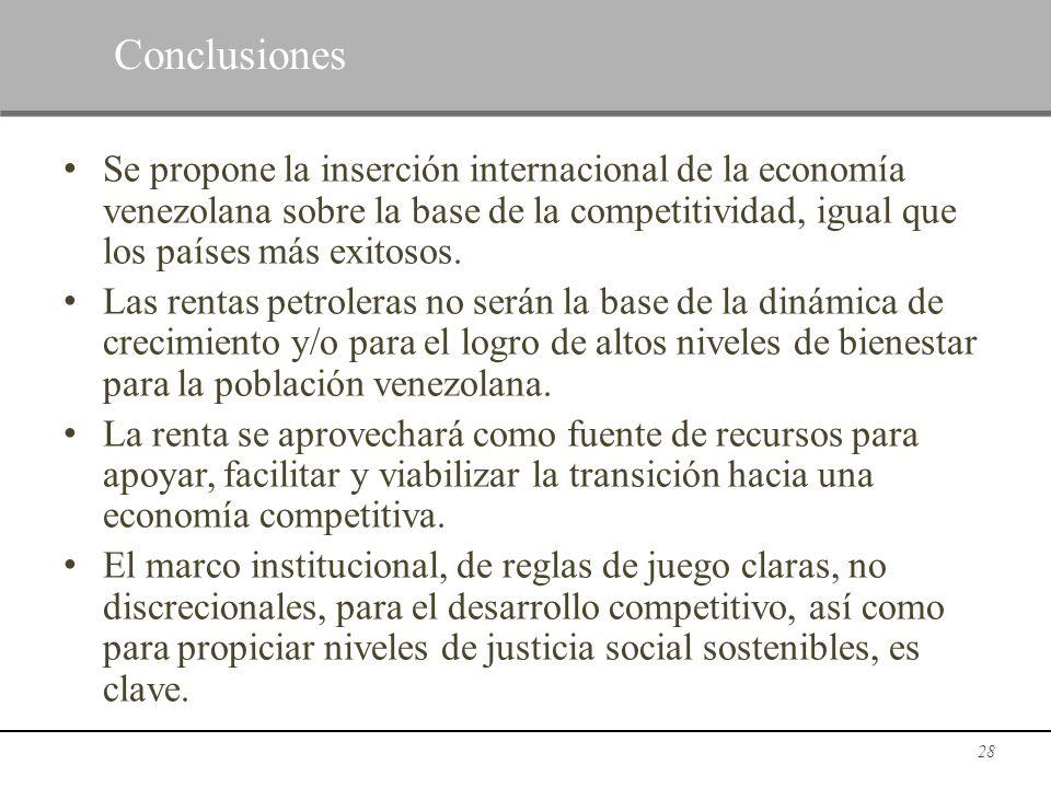 Se propone la inserción internacional de la economía venezolana sobre la base de la competitividad, igual que los países más exitosos. Las rentas petr