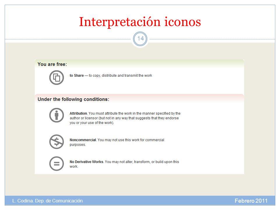 Interpretación iconos Febrero 2011 L. Codina. Dep. de Comunicación 14