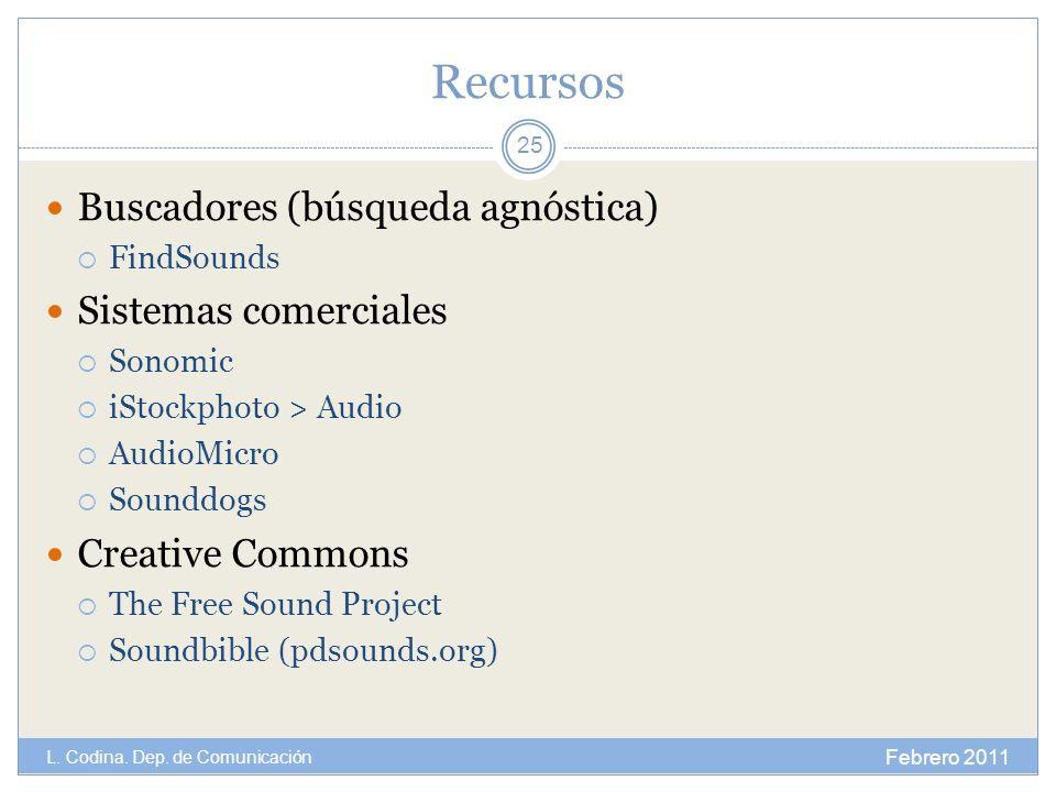 Recursos Buscadores (búsqueda agnóstica) FindSounds Sistemas comerciales Sonomic iStockphoto > Audio AudioMicro Sounddogs Creative Commons The Free So