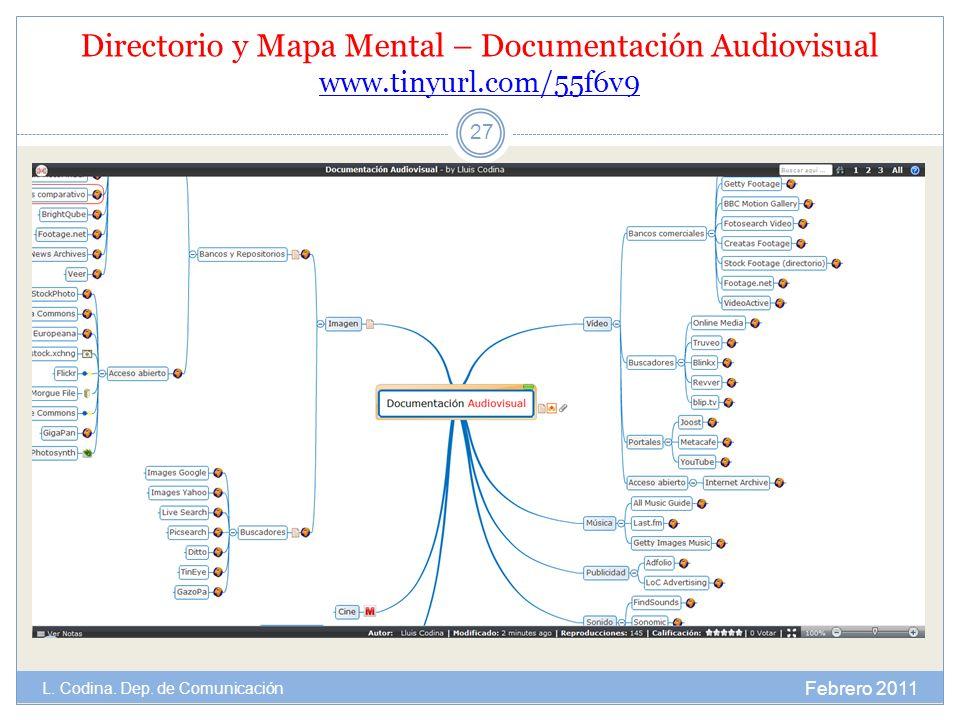 Directorio y Mapa Mental – Documentación Audiovisual www.tinyurl.com/55f6v9 www.tinyurl.com/55f6v9 Febrero 2011 L. Codina. Dep. de Comunicación 27