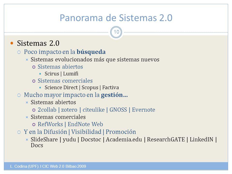 Panorama de Sistemas 2.0 L. Codina (UPF).