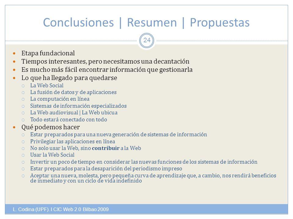 Conclusiones | Resumen | Propuestas L. Codina (UPF).