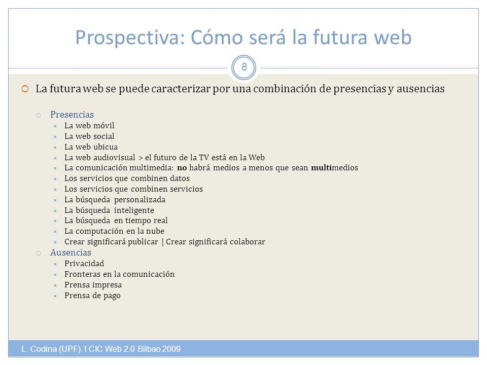 Prospectiva: Cómo será la futura web L. Codina (UPF).