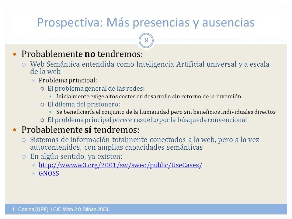 Prospectiva: Más presencias y ausencias L. Codina (UPF).