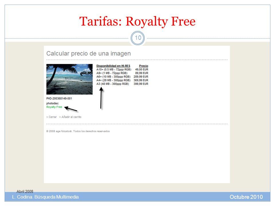 Tarifas: Royalty Free Abril 2008 Octubre 2010 L. Codina. Búsqueda Multimedia 10