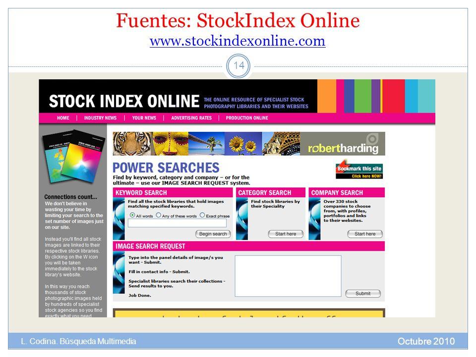 Fuentes: StockIndex Online www.stockindexonline.com www.stockindexonline.com Octubre 2010 L. Codina. Búsqueda Multimedia 14
