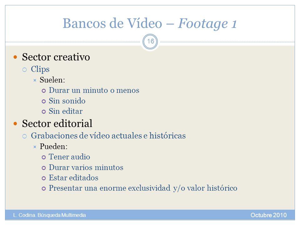 Bancos de Vídeo – Footage 1 Sector creativo Clips Suelen: Durar un minuto o menos Sin sonido Sin editar Sector editorial Grabaciones de vídeo actuales