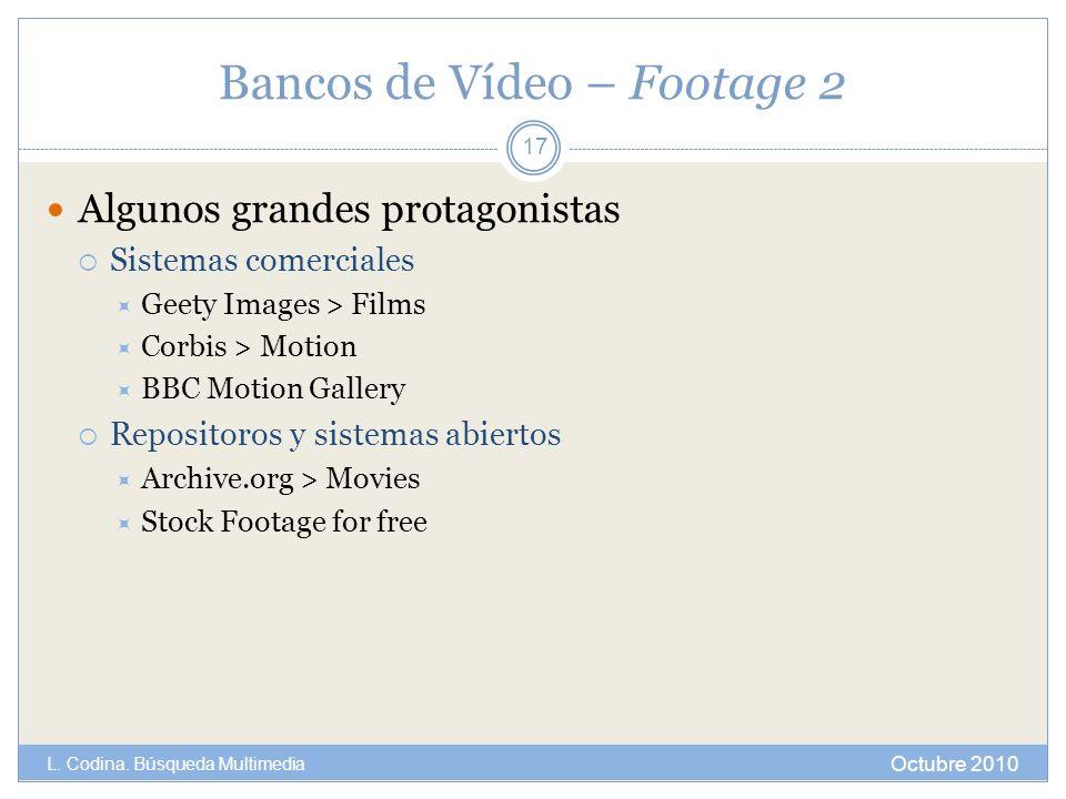 Bancos de Vídeo – Footage 2 Algunos grandes protagonistas Sistemas comerciales Geety Images > Films Corbis > Motion BBC Motion Gallery Repositoros y s