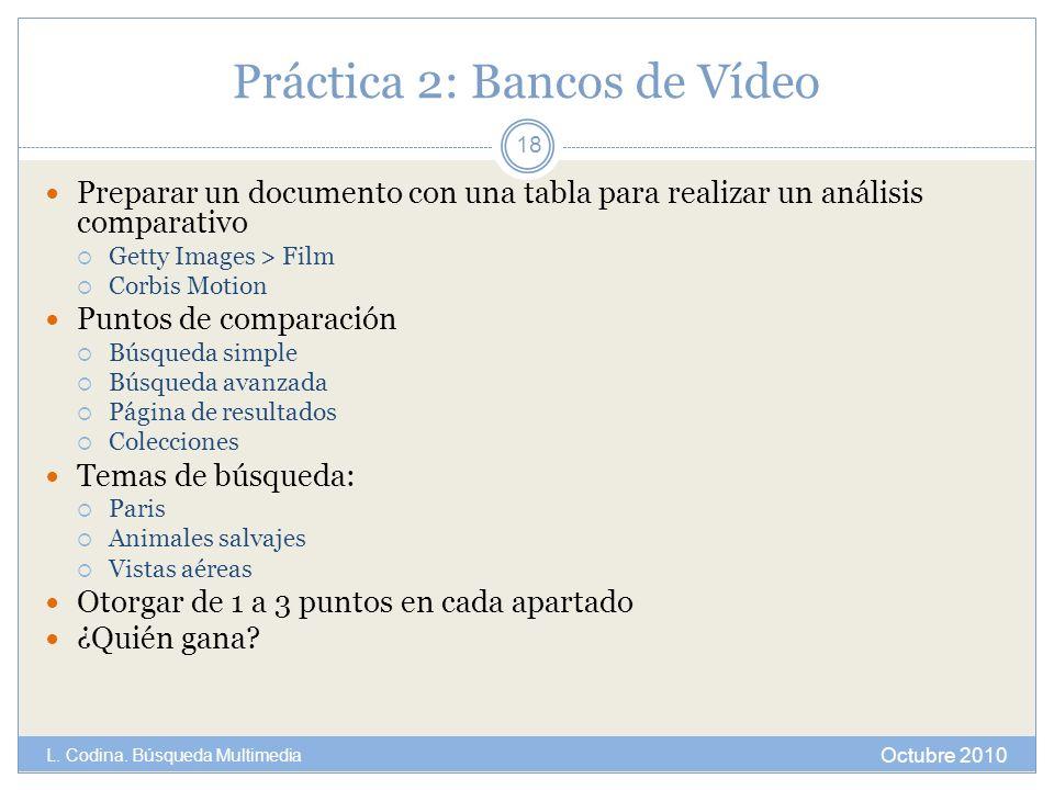 Práctica 2: Bancos de Vídeo Preparar un documento con una tabla para realizar un análisis comparativo Getty Images > Film Corbis Motion Puntos de comp