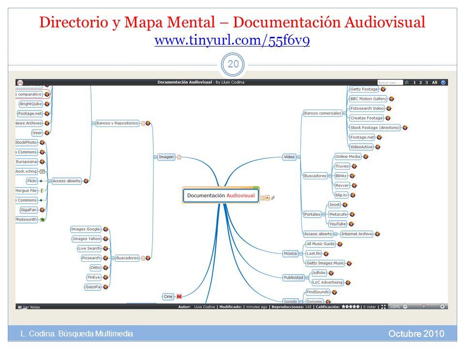Directorio y Mapa Mental – Documentación Audiovisual www.tinyurl.com/55f6v9 www.tinyurl.com/55f6v9 Octubre 2010 L. Codina. Búsqueda Multimedia 20
