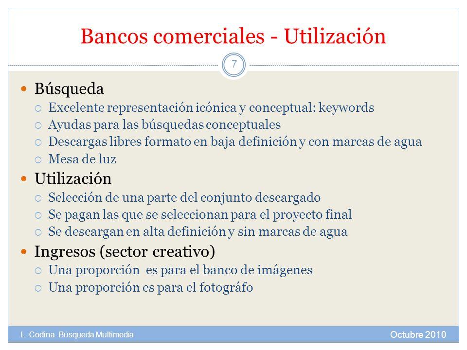 Bancos comerciales - Utilización Búsqueda Excelente representación icónica y conceptual: keywords Ayudas para las búsquedas conceptuales Descargas lib