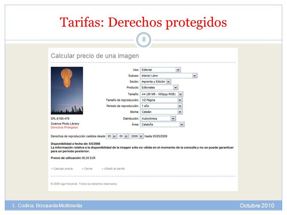 Tarifas: Derechos protegidos Octubre 2010 L. Codina. Búsqueda Multimedia 8