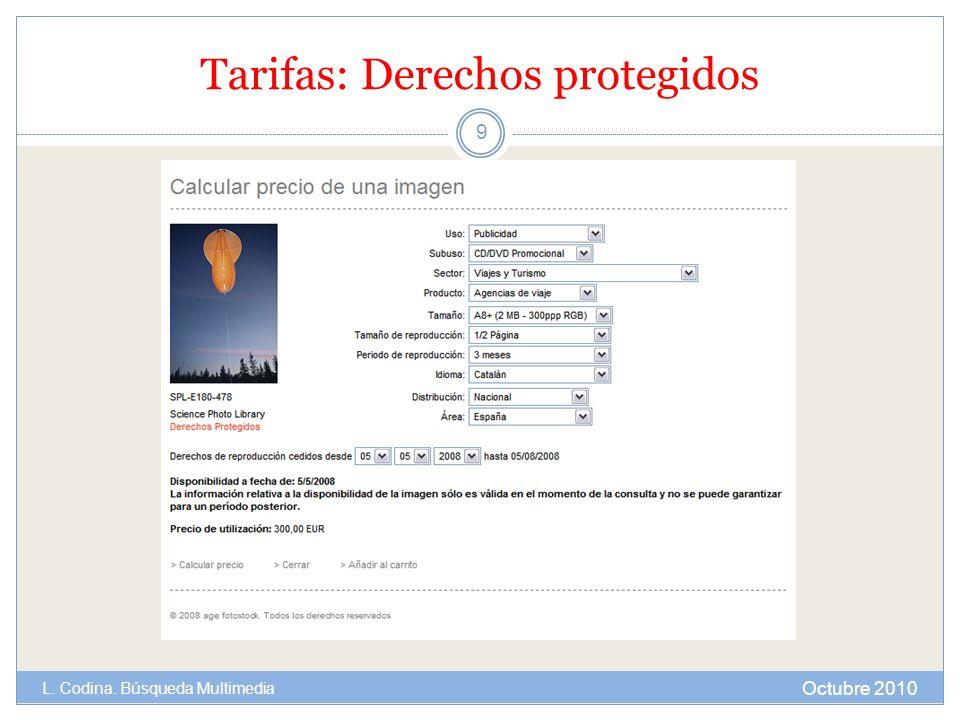 Tarifas: Derechos protegidos Octubre 2010 L. Codina. Búsqueda Multimedia 9
