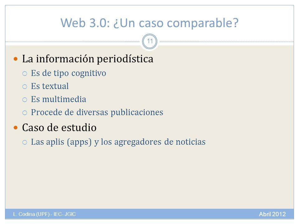 Web 3.0: ¿Un caso comparable? La información periodística Es de tipo cognitivo Es textual Es multimedia Procede de diversas publicaciones Caso de estu