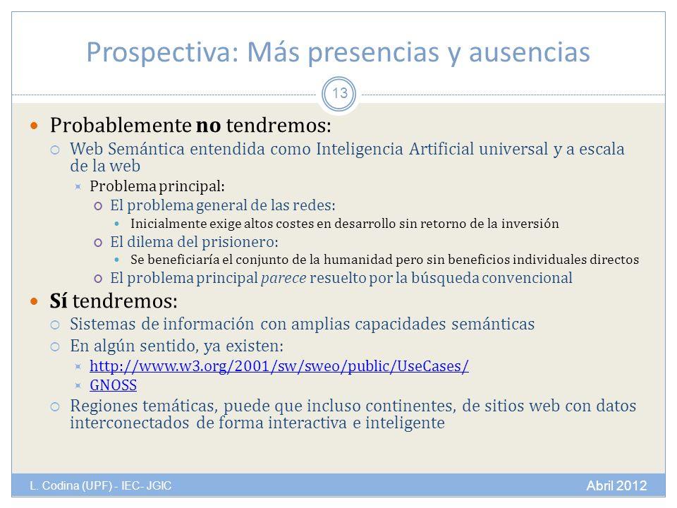 Prospectiva: Más presencias y ausencias L.