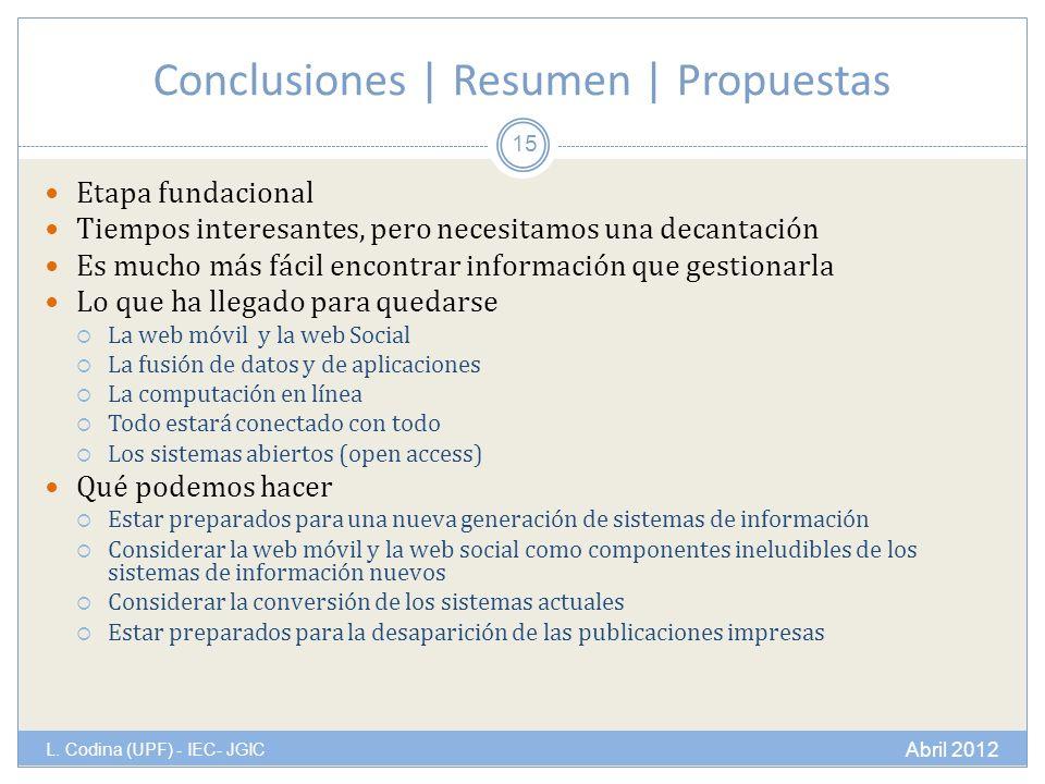 Conclusiones | Resumen | Propuestas L.
