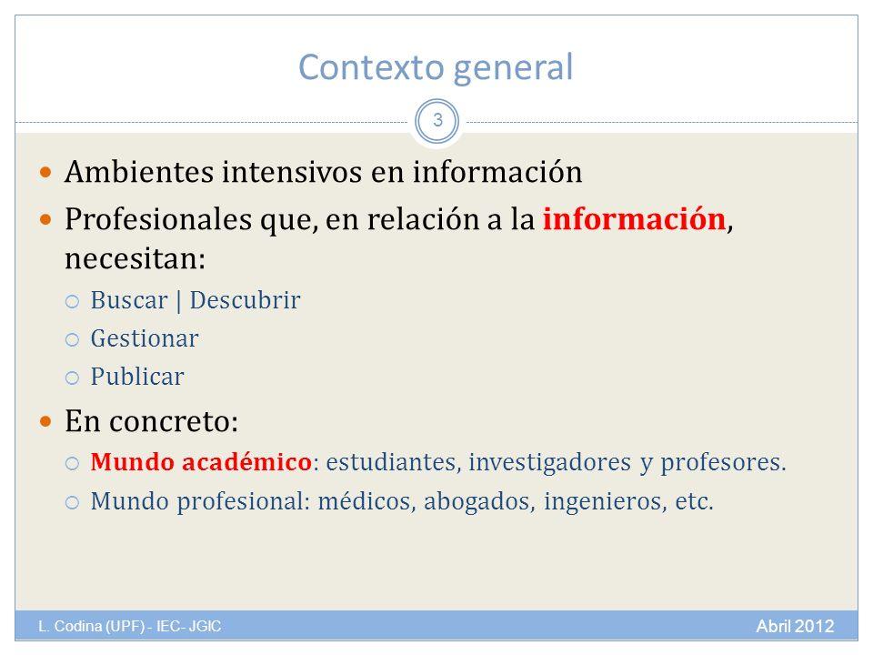 Contexto general L.
