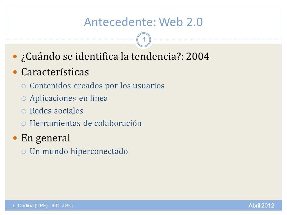 Antecedente: Web 2.0 L.