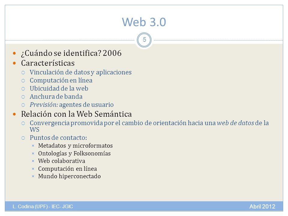 Web 3.0 L. Codina (UPF) - IEC- JGIC ¿Cuándo se identifica.
