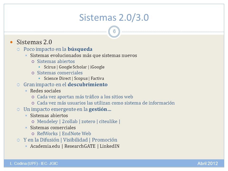 Sistemas 2.0/3.0 L.