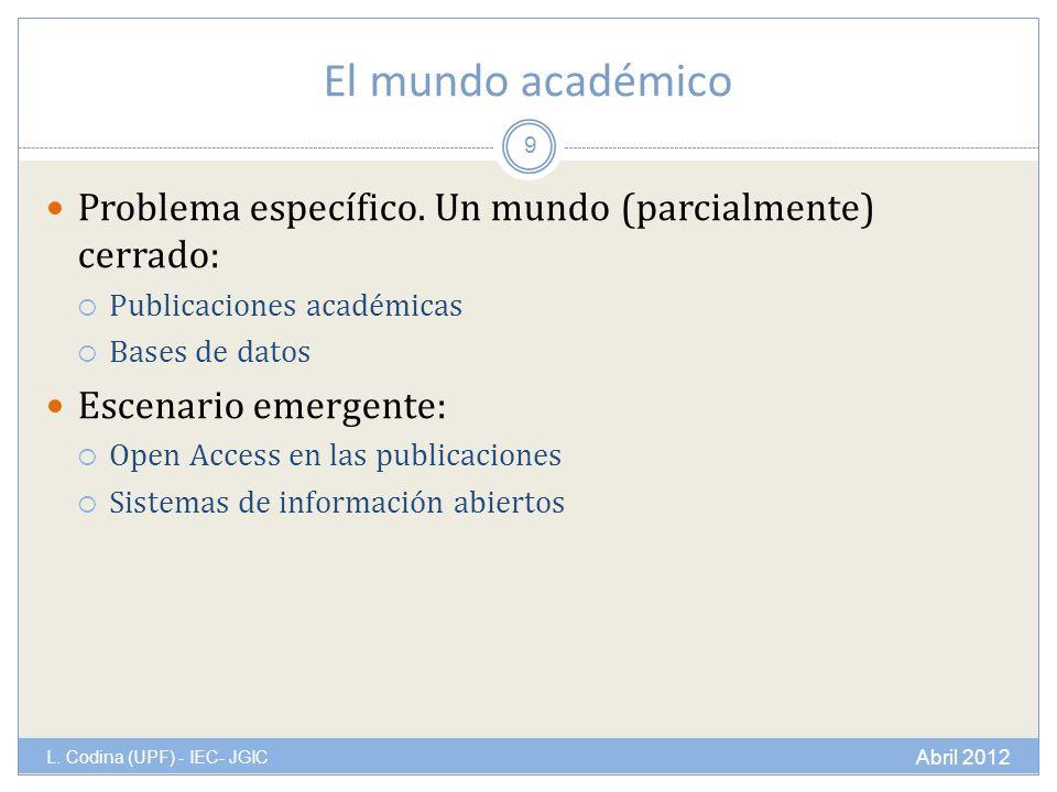El mundo académico Problema específico.