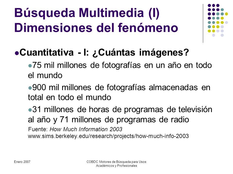 Enero 2007COBDC Motores de Búsqueda para Usos Académicos y Profesionales Búsqueda Multimedia (I) Dimensiones del fenómeno Cuantitativa - I: ¿Cuántas imágenes.
