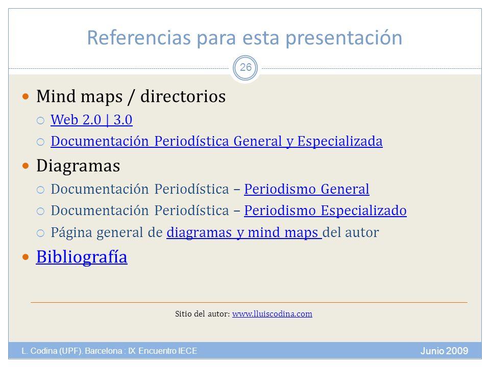 Referencias para esta presentación Junio 2009 L. Codina (UPF).