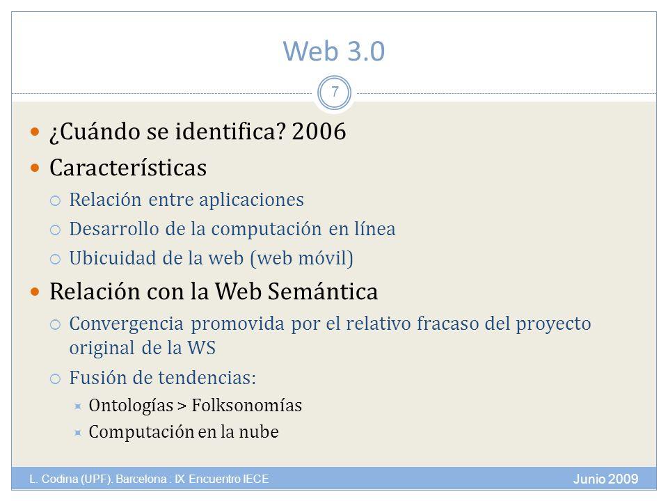 Web 3.0 Junio 2009 L. Codina (UPF). Barcelona : IX Encuentro IECE 7 ¿Cuándo se identifica.