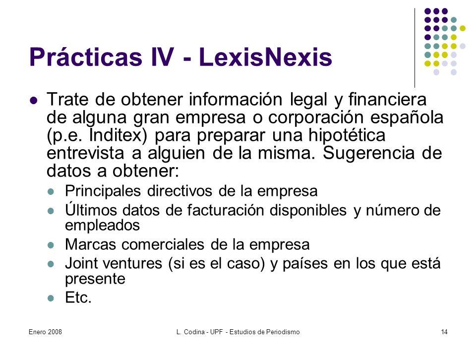 Prácticas IV - LexisNexis Trate de obtener información legal y financiera de alguna gran empresa o corporación española (p.e.