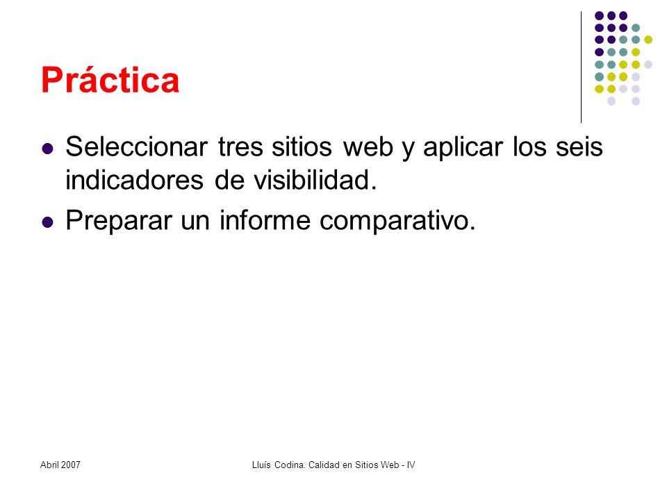 Práctica Seleccionar tres sitios web y aplicar los seis indicadores de visibilidad.