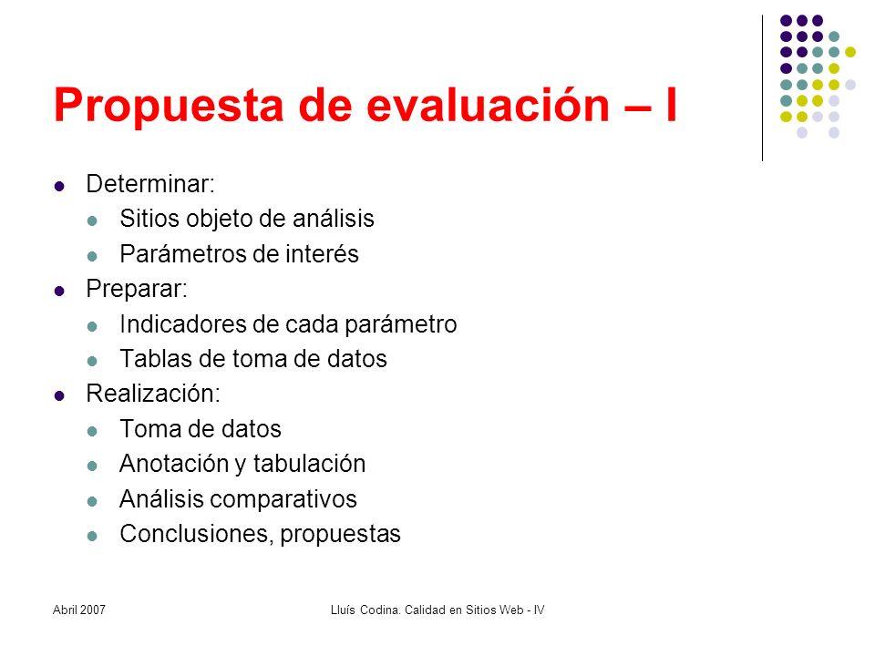 Propuesta de evaluación – I Determinar: Sitios objeto de análisis Parámetros de interés Preparar: Indicadores de cada parámetro Tablas de toma de dato
