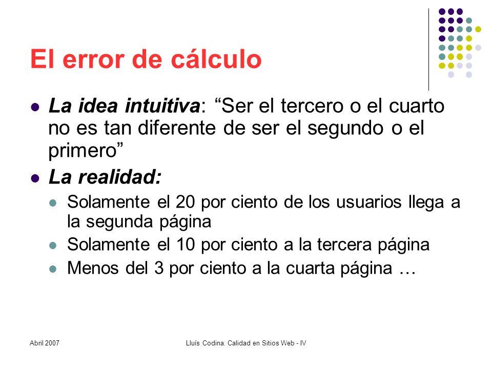 El error de cálculo La idea intuitiva: Ser el tercero o el cuarto no es tan diferente de ser el segundo o el primero La realidad: Solamente el 20 por ciento de los usuarios llega a la segunda página Solamente el 10 por ciento a la tercera página Menos del 3 por ciento a la cuarta página … Lluís Codina.