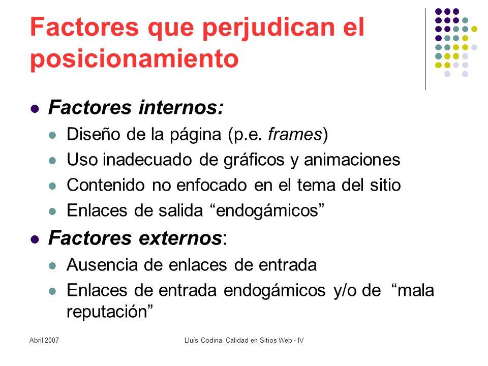 Factores que perjudican el posicionamiento Factores internos: Diseño de la página (p.e.