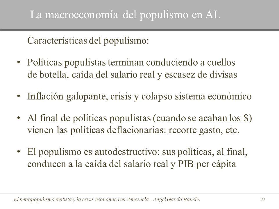 Características del populismo: Políticas populistas terminan conduciendo a cuellos de botella, caída del salario real y escasez de divisas Inflación g