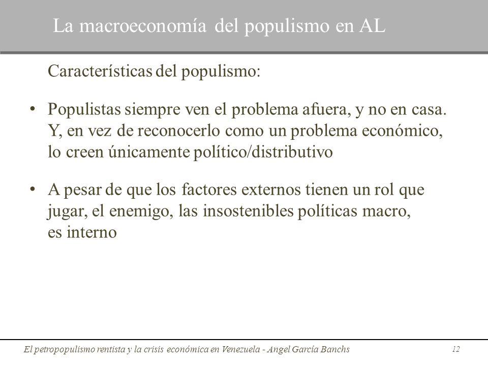 Características del populismo: Populistas siempre ven el problema afuera, y no en casa. Y, en vez de reconocerlo como un problema económico, lo creen