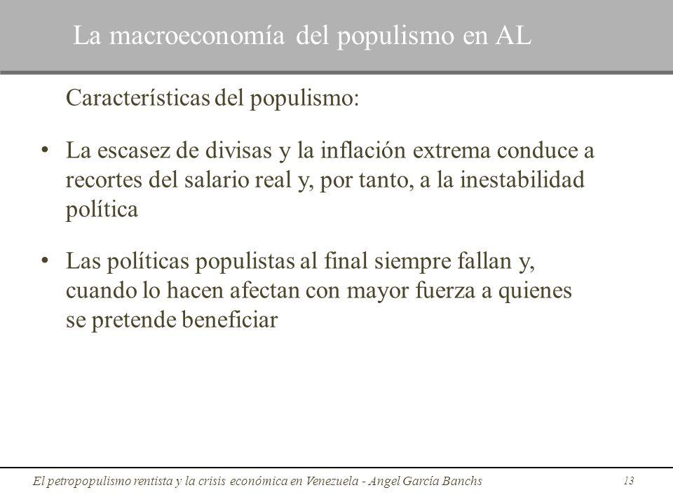 Características del populismo: La escasez de divisas y la inflación extrema conduce a recortes del salario real y, por tanto, a la inestabilidad polít