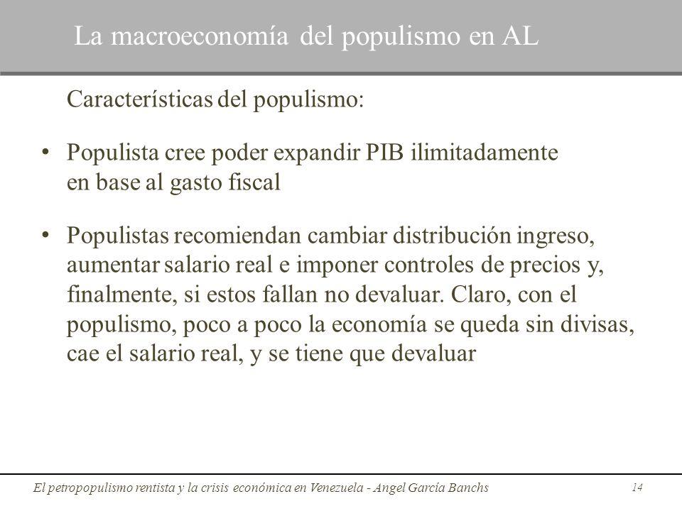 Características del populismo: Populista cree poder expandir PIB ilimitadamente en base al gasto fiscal Populistas recomiendan cambiar distribución in