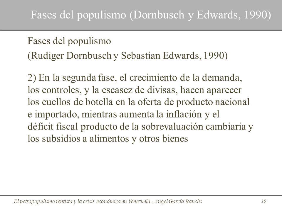 Fases del populismo (Rudiger Dornbusch y Sebastian Edwards, 1990) 2) En la segunda fase, el crecimiento de la demanda, los controles, y la escasez de