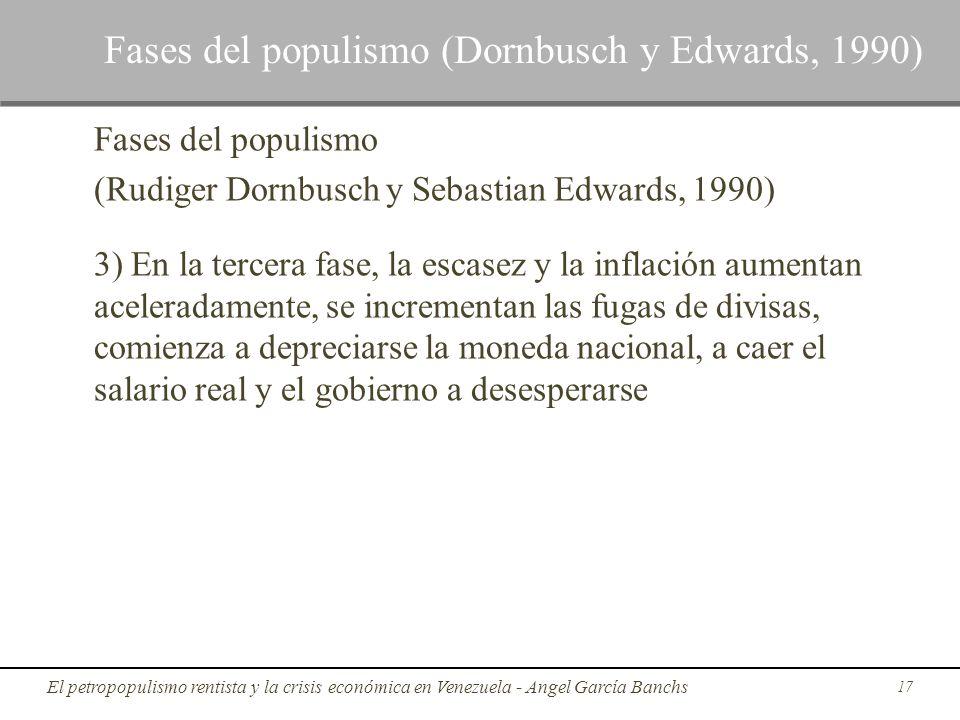 Fases del populismo (Rudiger Dornbusch y Sebastian Edwards, 1990) 3) En la tercera fase, la escasez y la inflación aumentan aceleradamente, se increme