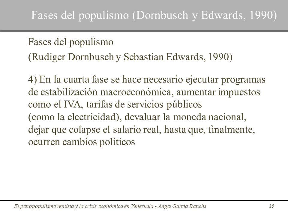 Fases del populismo (Rudiger Dornbusch y Sebastian Edwards, 1990) 4) En la cuarta fase se hace necesario ejecutar programas de estabilización macroeco