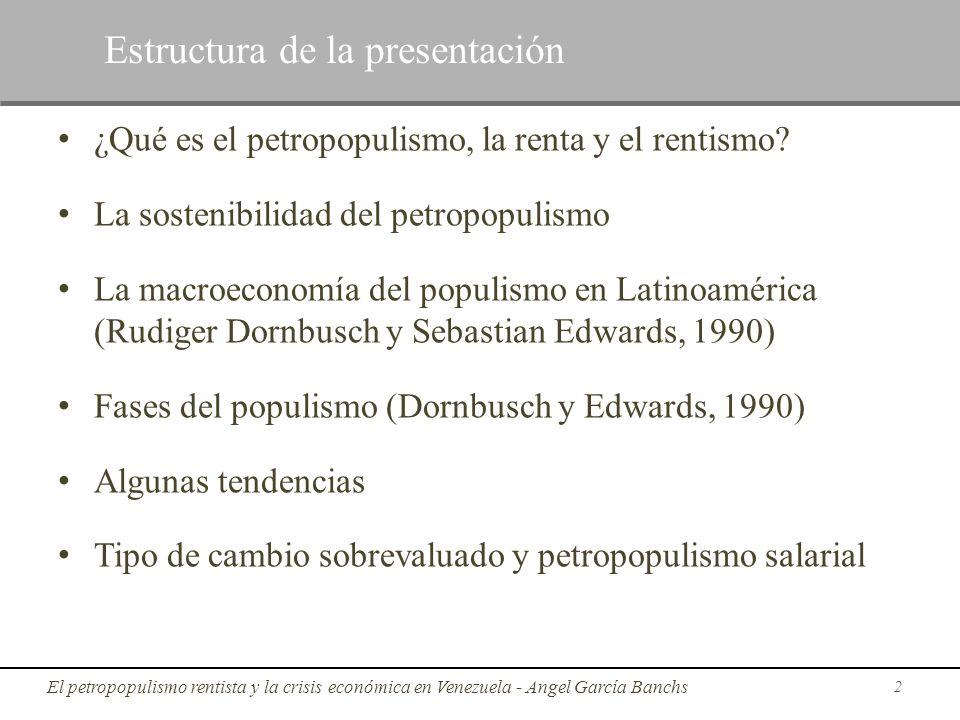 ¿Qué es el petropopulismo, la renta y el rentismo? La sostenibilidad del petropopulismo La macroeconomía del populismo en Latinoamérica (Rudiger Dornb