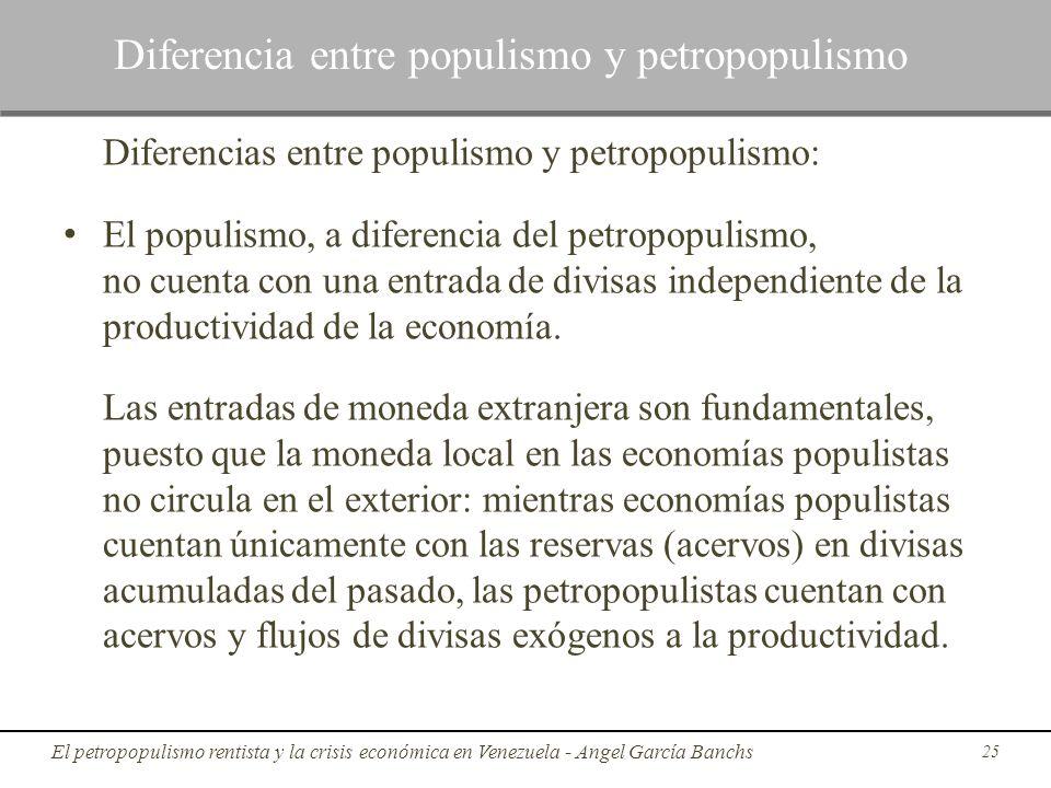 Diferencias entre populismo y petropopulismo: El populismo, a diferencia del petropopulismo, no cuenta con una entrada de divisas independiente de la