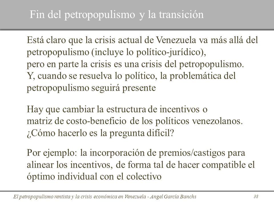 Está claro que la crisis actual de Venezuela va más allá del petropopulismo (incluye lo político-jurídico), pero en parte la crisis es una crisis del