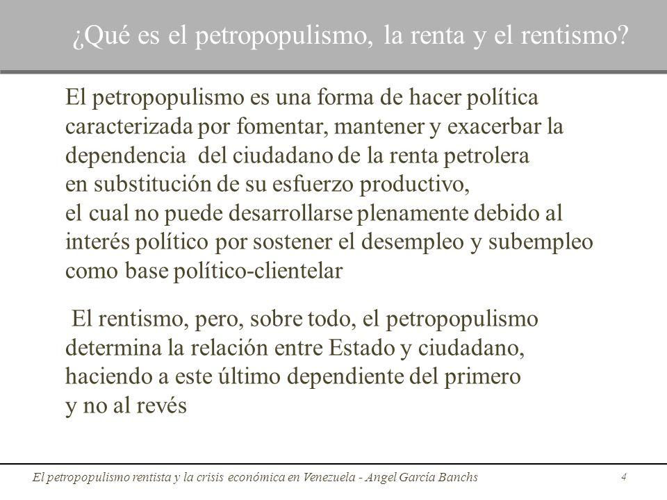 El petropopulismo es una forma de hacer política caracterizada por fomentar, mantener y exacerbar la dependencia del ciudadano de la renta petrolera e