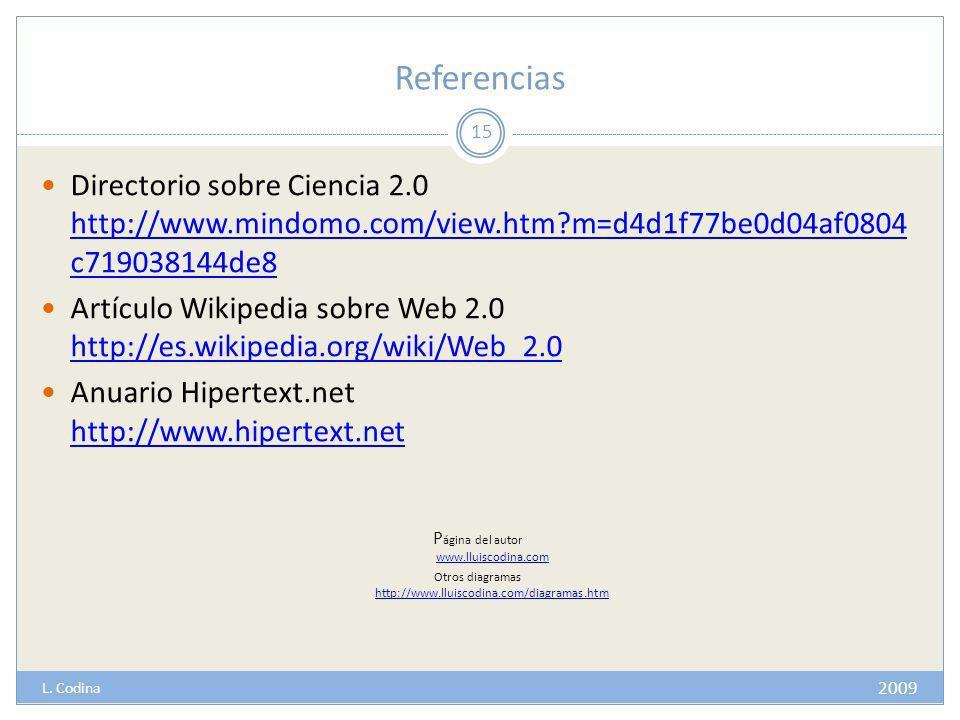 Referencias Directorio sobre Ciencia 2.0 http://www.mindomo.com/view.htm?m=d4d1f77be0d04af0804 c719038144de8 http://www.mindomo.com/view.htm?m=d4d1f77be0d04af0804 c719038144de8 Artículo Wikipedia sobre Web 2.0 http://es.wikipedia.org/wiki/Web_2.0 http://es.wikipedia.org/wiki/Web_2.0 Anuario Hipertext.net http://www.hipertext.net http://www.hipertext.net P ágina del autor www.lluiscodina.com www.lluiscodina.com Otros diagramas http://www.lluiscodina.com/diagramas.htm http://www.lluiscodina.com/diagramas.htm 15 2009 L.