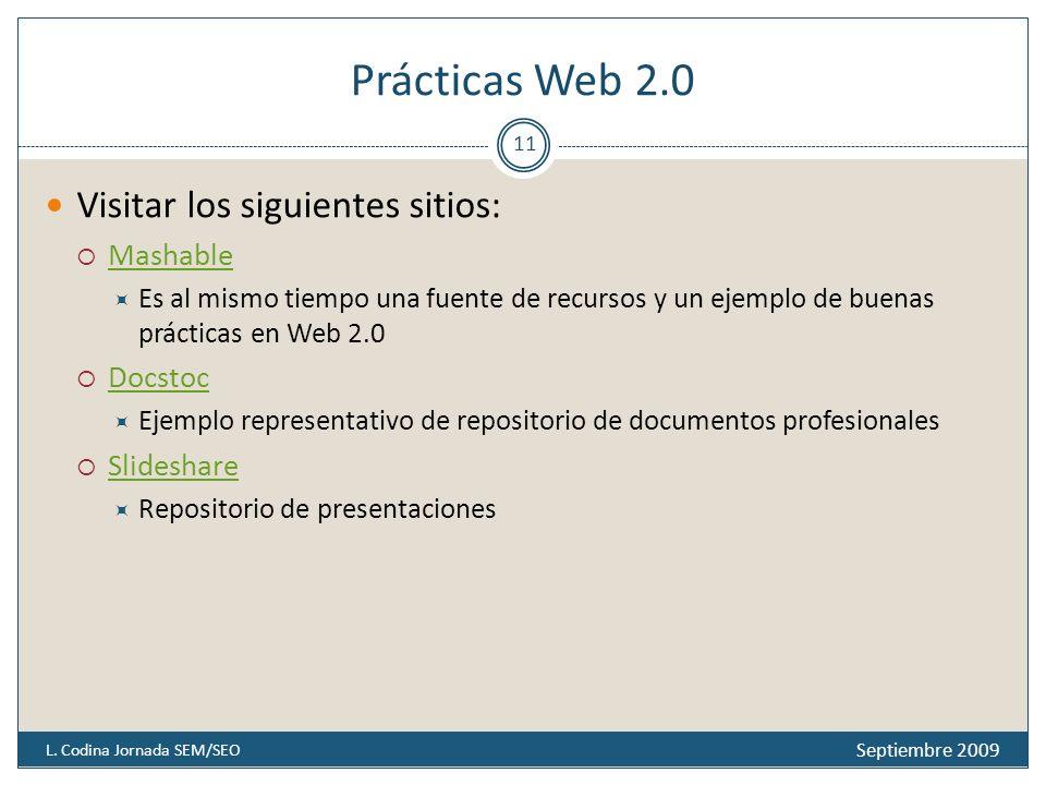 Prácticas Web 2.0 Septiembre 2009 L.