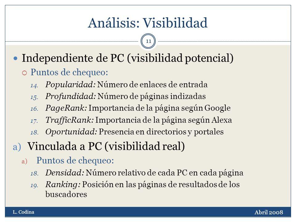 Análisis: Visibilidad Independiente de PC (visibilidad potencial) Puntos de chequeo: 14.